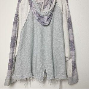 Free People Sweaters - Grey Free People Distressed Zipper Hoodie Sweater